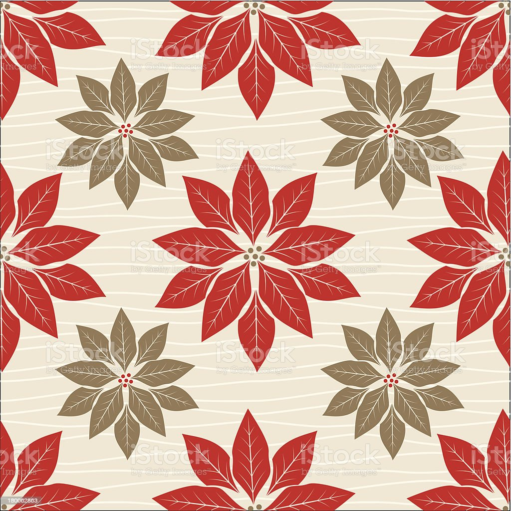 Retro Red Poinsettia Pattern vector art illustration