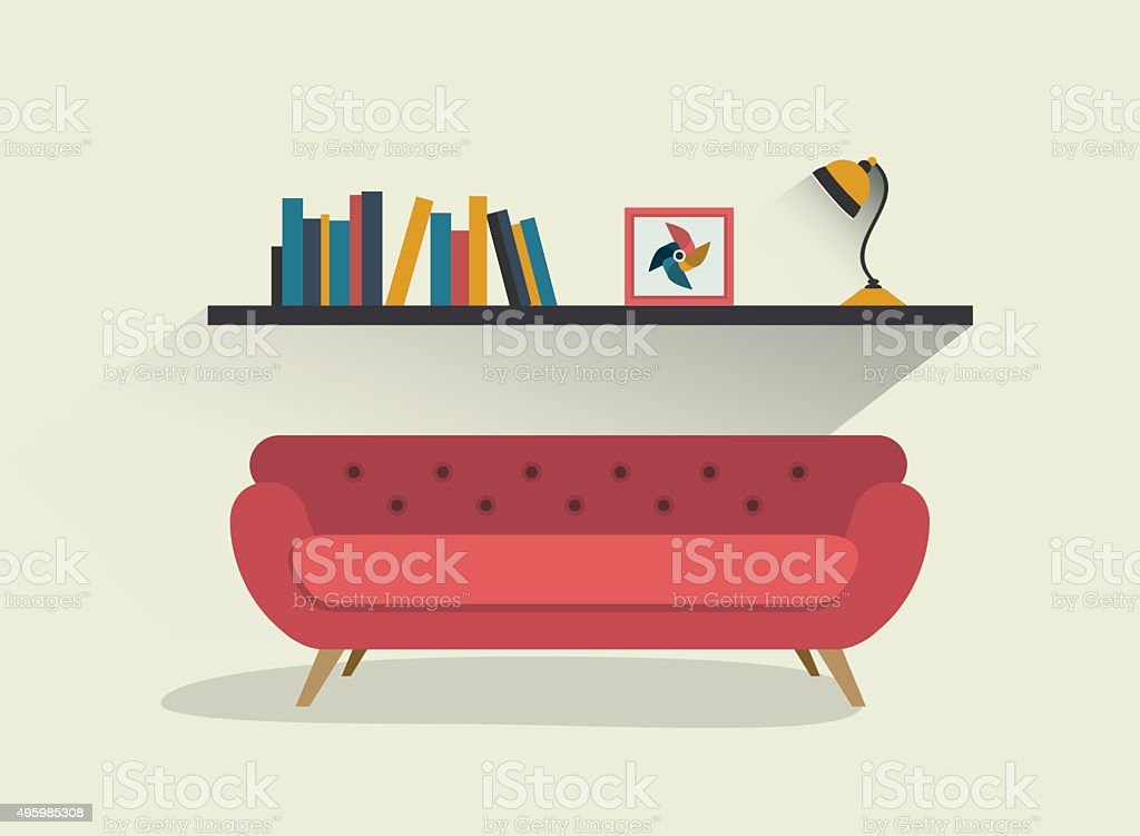 Retro red sofa and book shelf with lamp. vector art illustration
