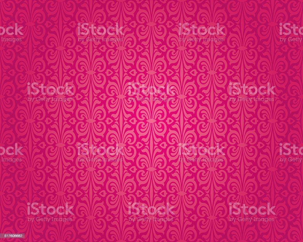 Retro red vintage wallpaper pattern vector seamless background vector art illustration