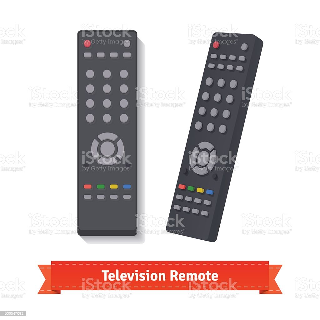 Retro remote control at different angles vector art illustration