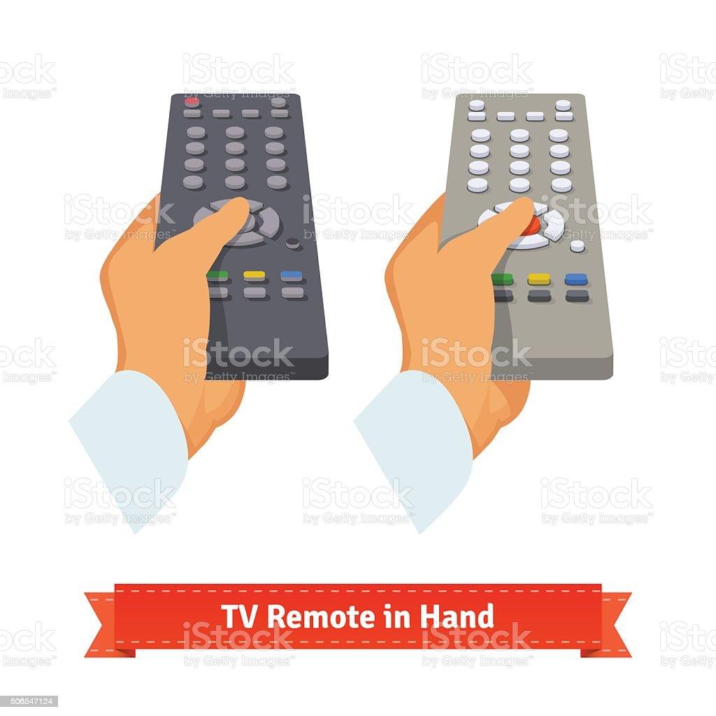 Retro remote control in hand vector art illustration