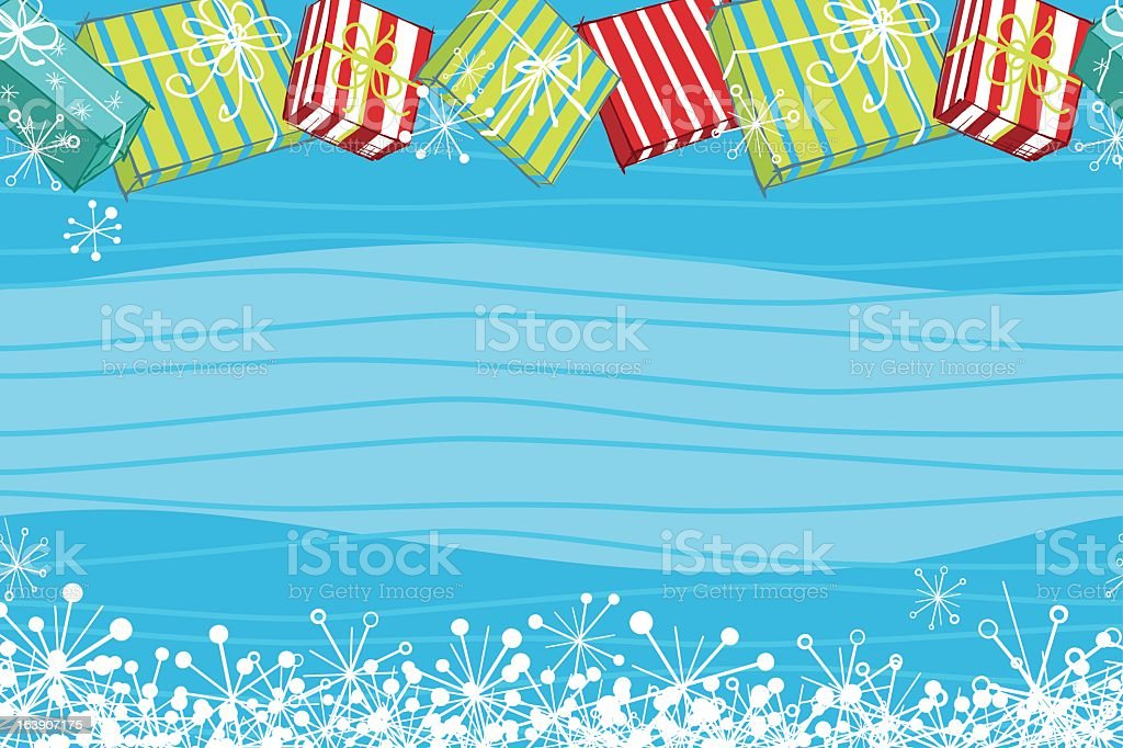 Retro Repeating Christmas Banner With Gifts vector art illustration