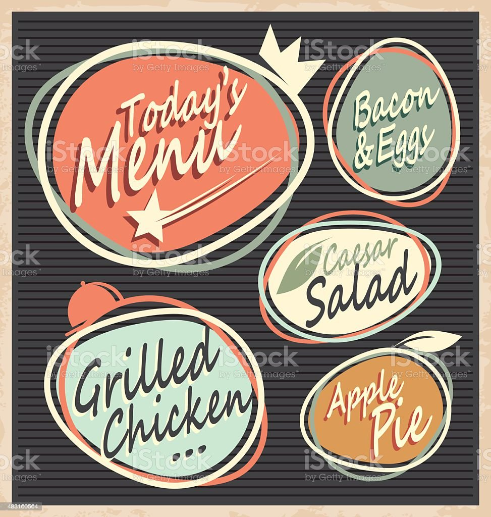 Retro restaurant menu template vector art illustration