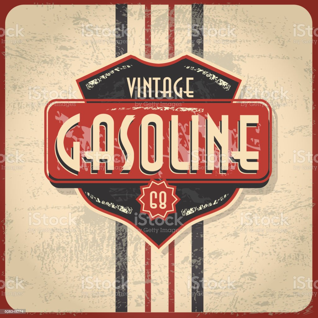 Retro revival or Vintage Gas Bar sign vector art illustration
