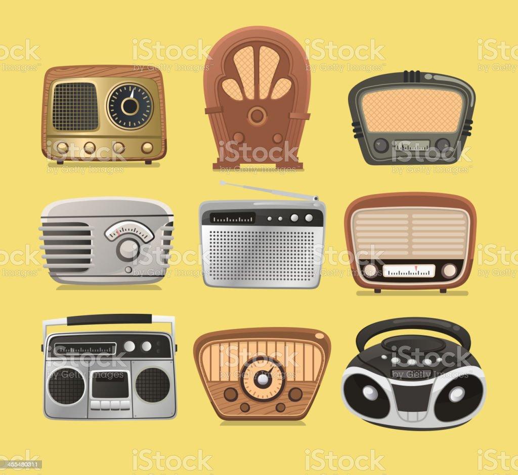 Retro revival radios hi fi tuner broadcasting system vector art illustration