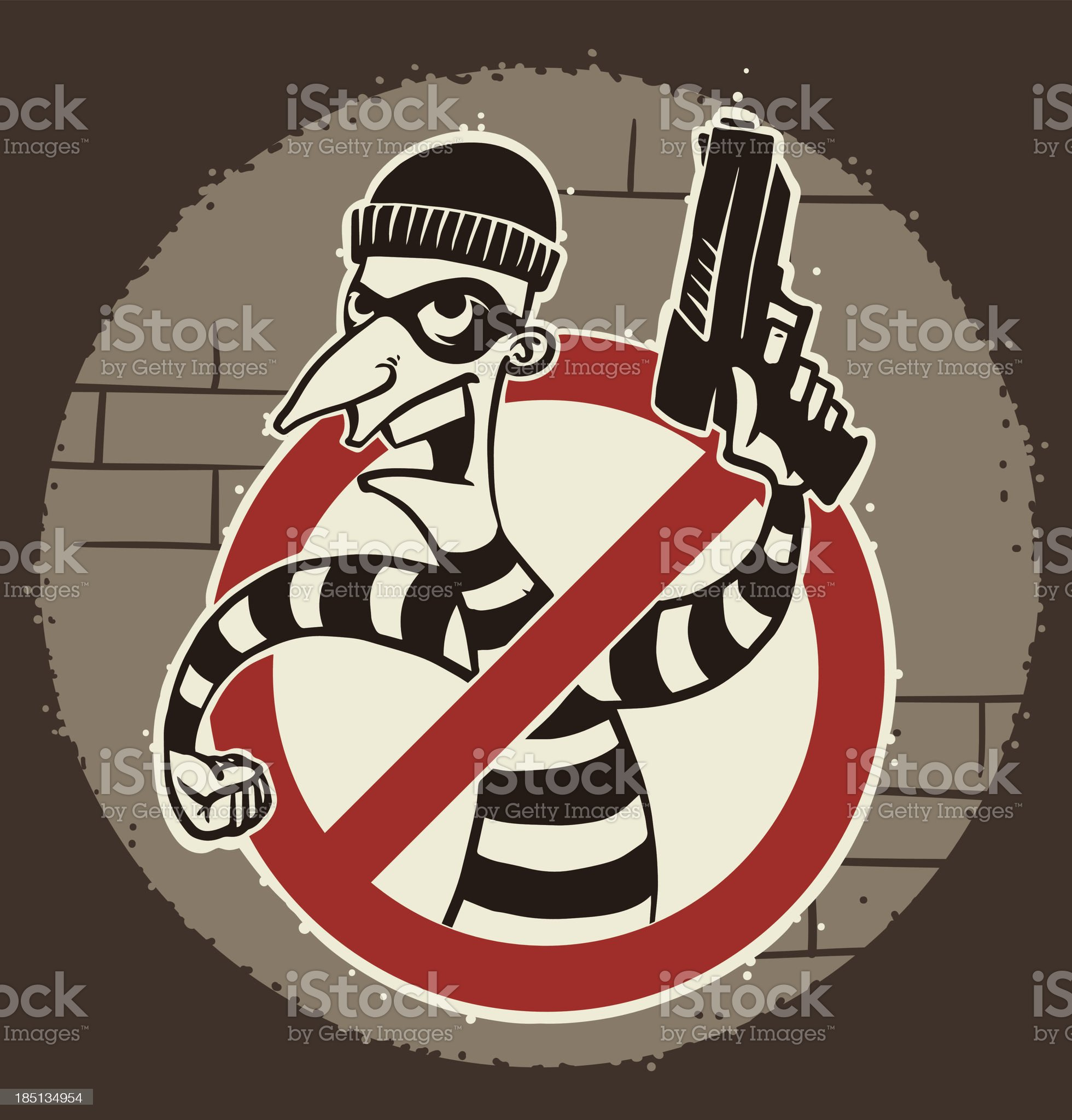 Retro robber in mask with a gun the sign ban royalty-free stock vector art