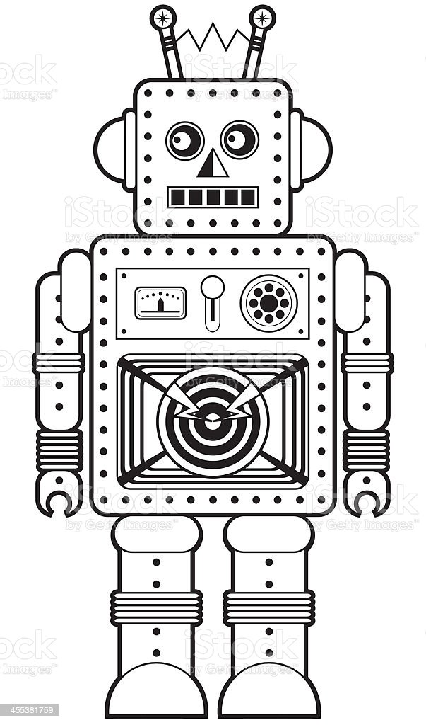 Retro Robot Character Icon in Black and White royalty-free stock vector art