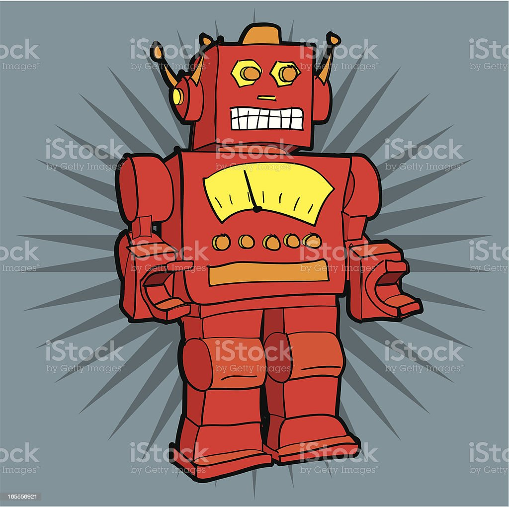 Retro Robot vector art illustration
