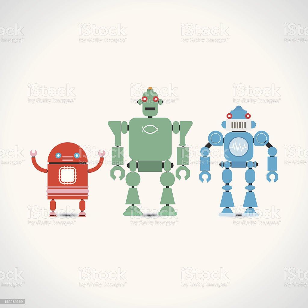 Retro Robots Collection royalty-free stock vector art