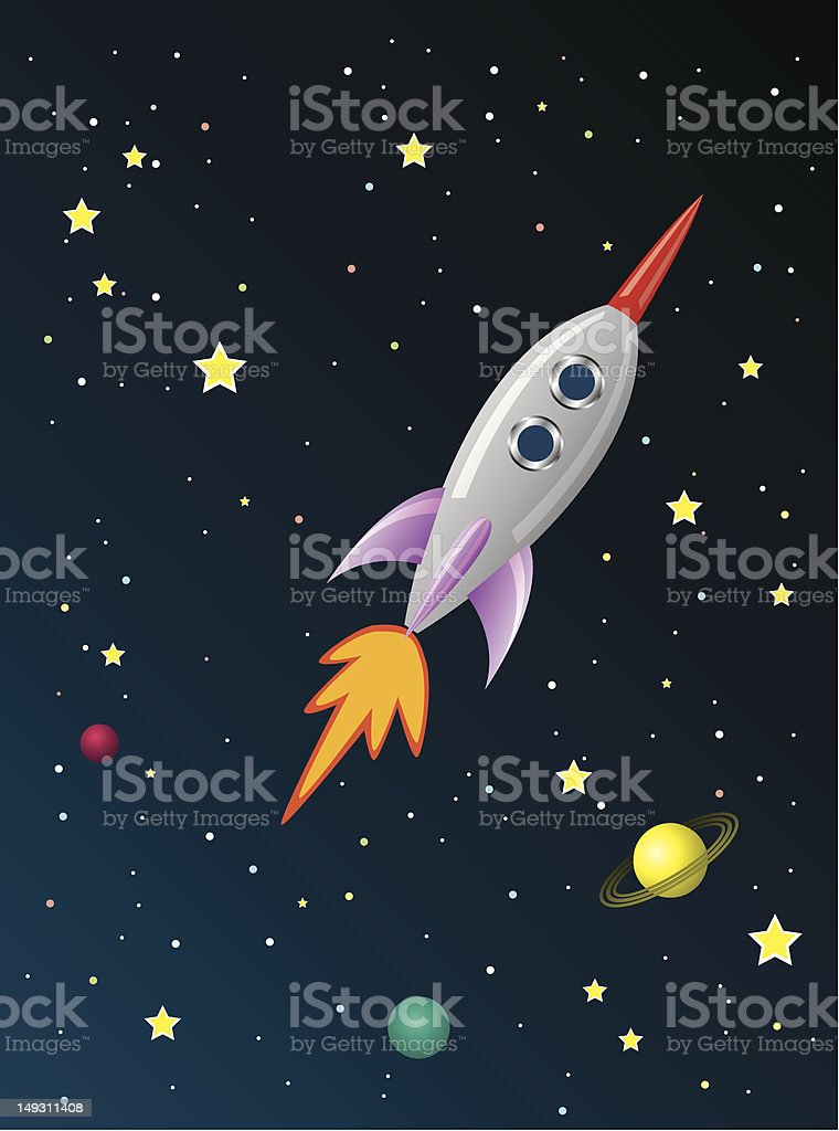 retro rocket ship in space royalty-free stock vector art