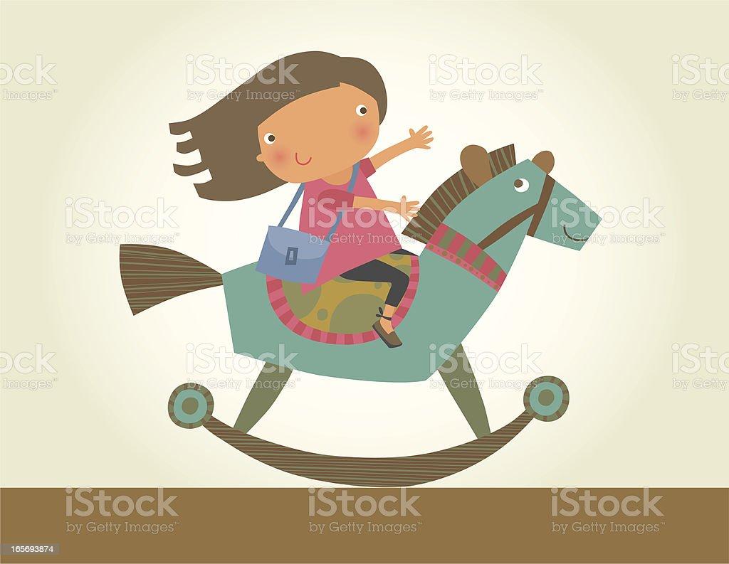 Retro Rocking Horse vector art illustration