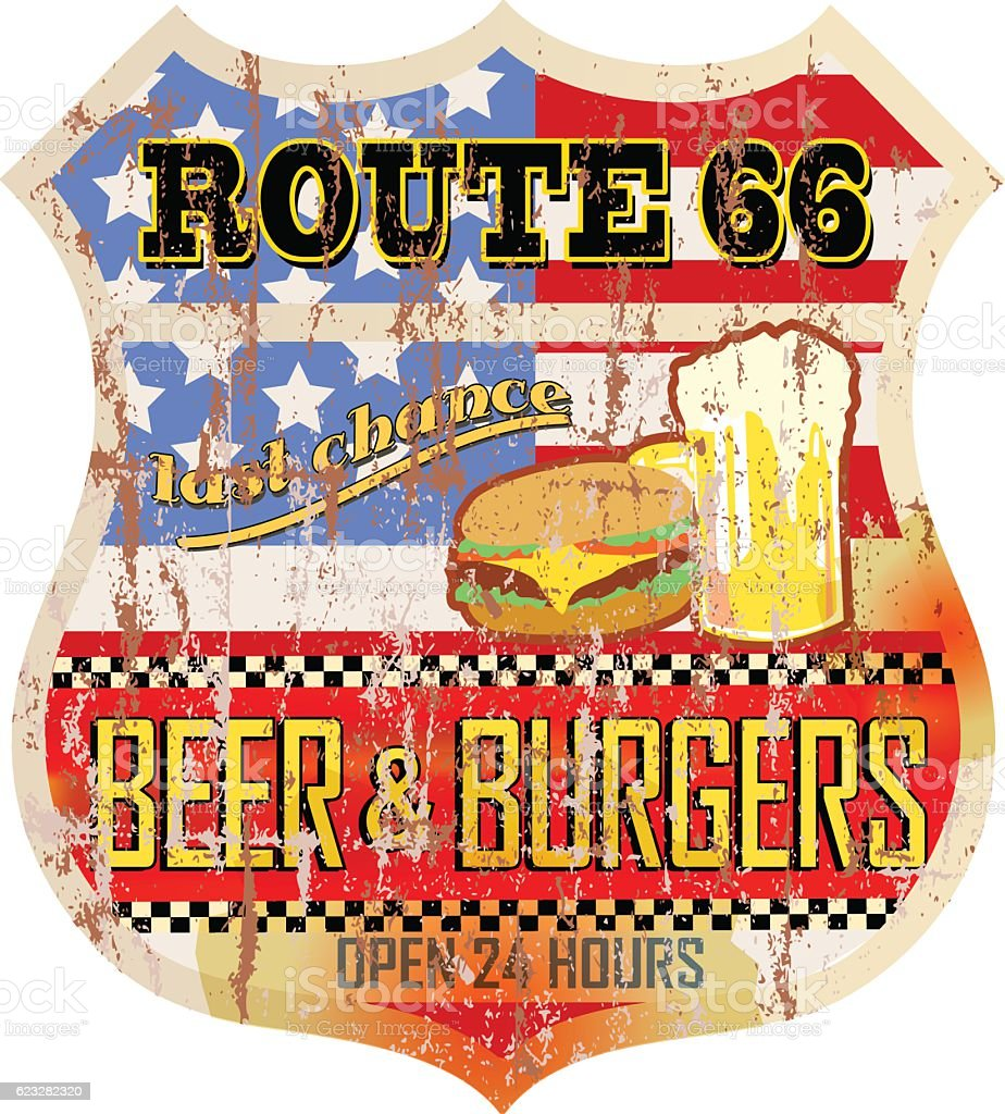 retro route 66 diner sign vector art illustration