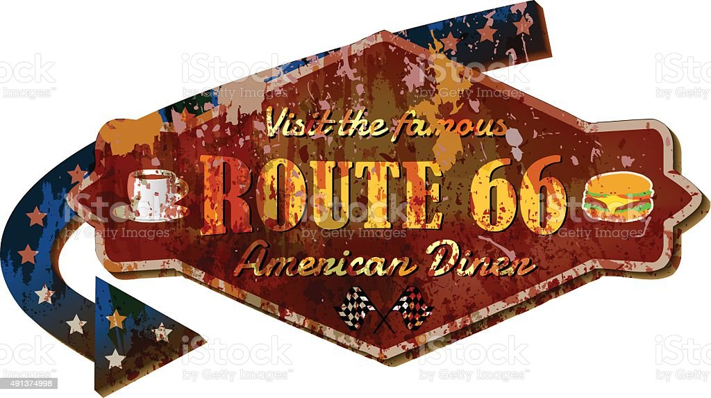 retro Route 66 diner sign, vector Illustration vector art illustration