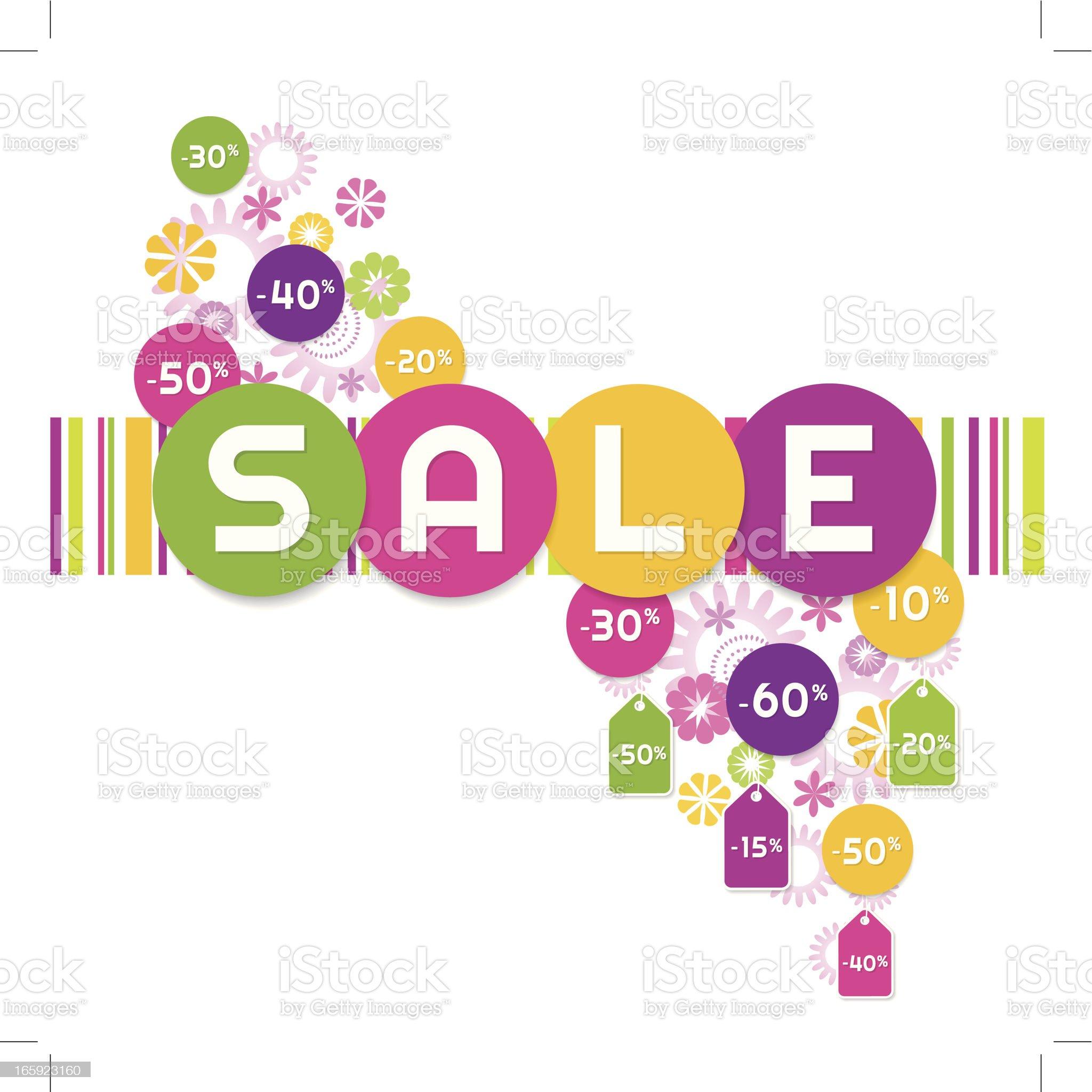 Retro Sale floral royalty-free stock vector art