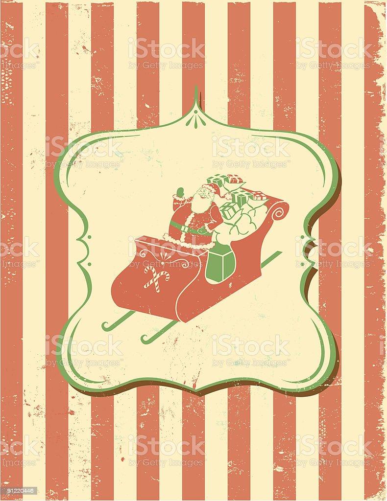 Retro Santa with sleigh full of toys royalty-free stock vector art