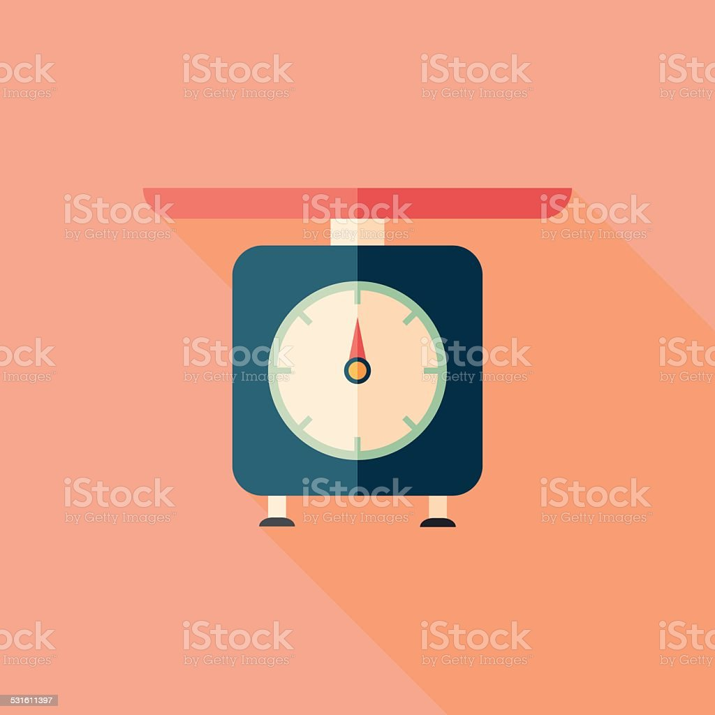 Retro scales flat square icon with long shadows. vector art illustration