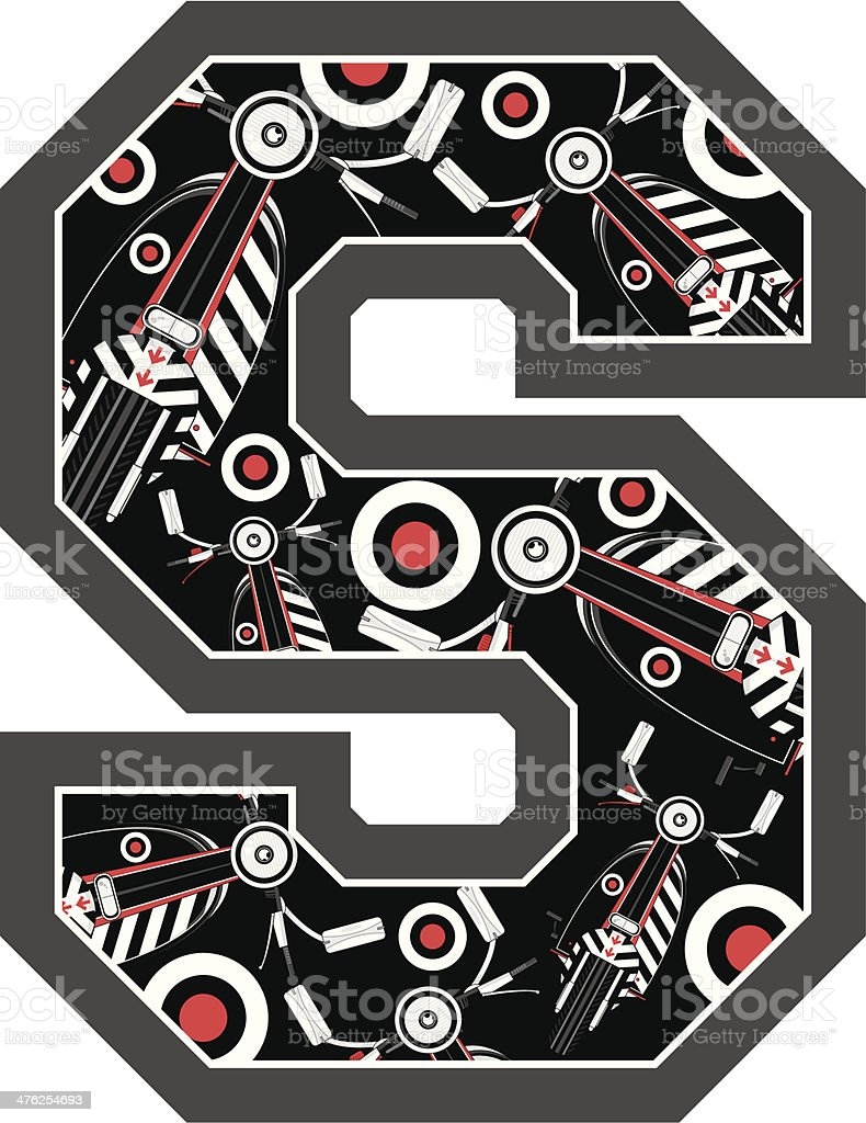 Retro Scooter Learning Letter S royalty-free stock vector art