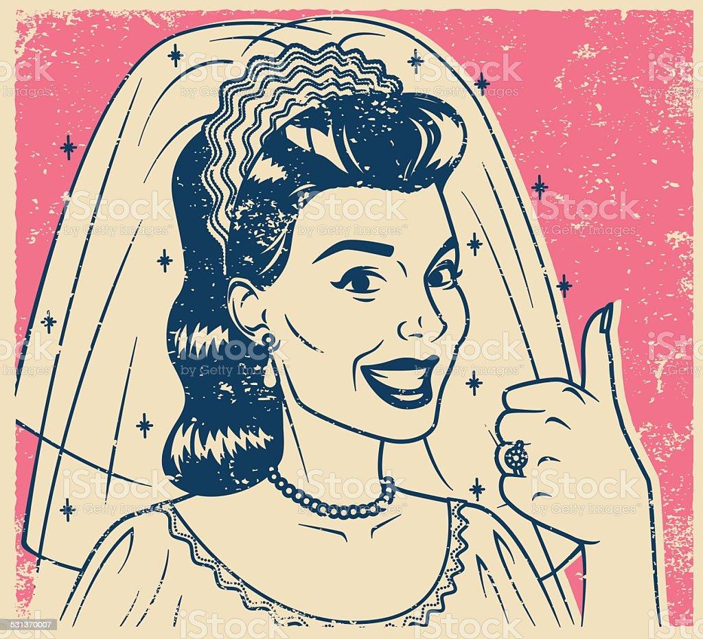 Retro Screen Print Bride Giving a Thumb's Up vector art illustration