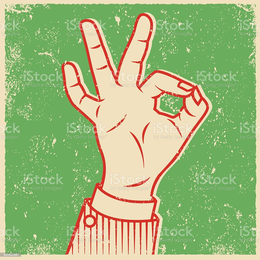 Retro Screen Print Hand Giving The OK Sign vector art illustration