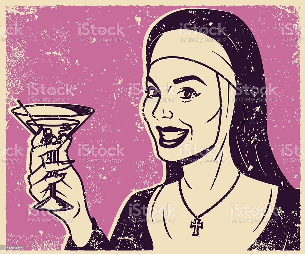 Retro Screen Print Nun Drinking a Martini vector art illustration