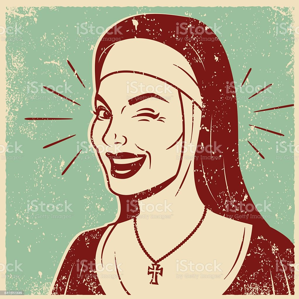 Retro Screen Print of a Smiling Nun vector art illustration