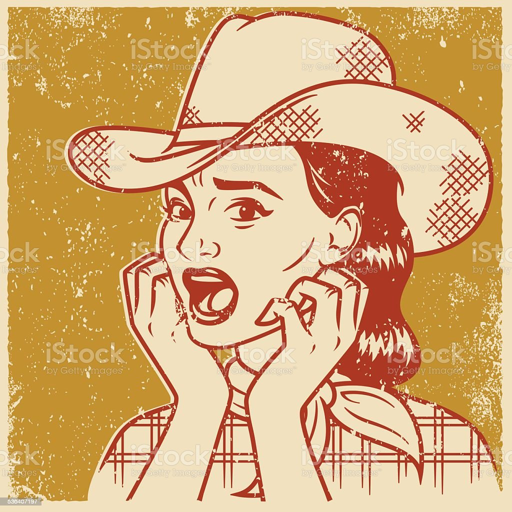 Retro Screen Print of a Terrified Cowgirl vector art illustration
