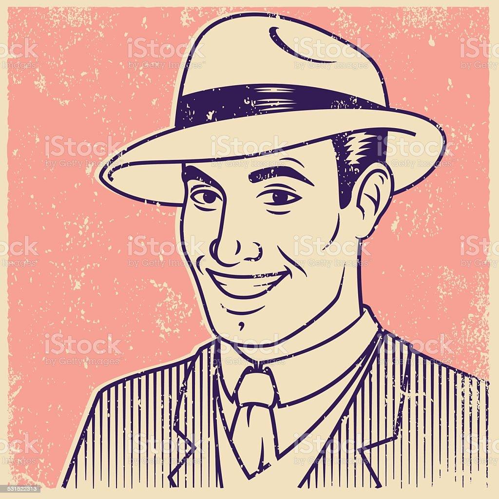 Retro Screen Print of Smiling Man vector art illustration