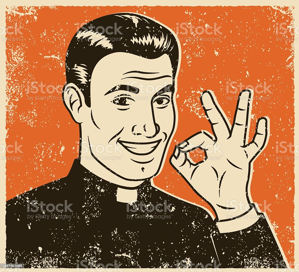 Retro Screen Print of Smiling Priest vector art illustration