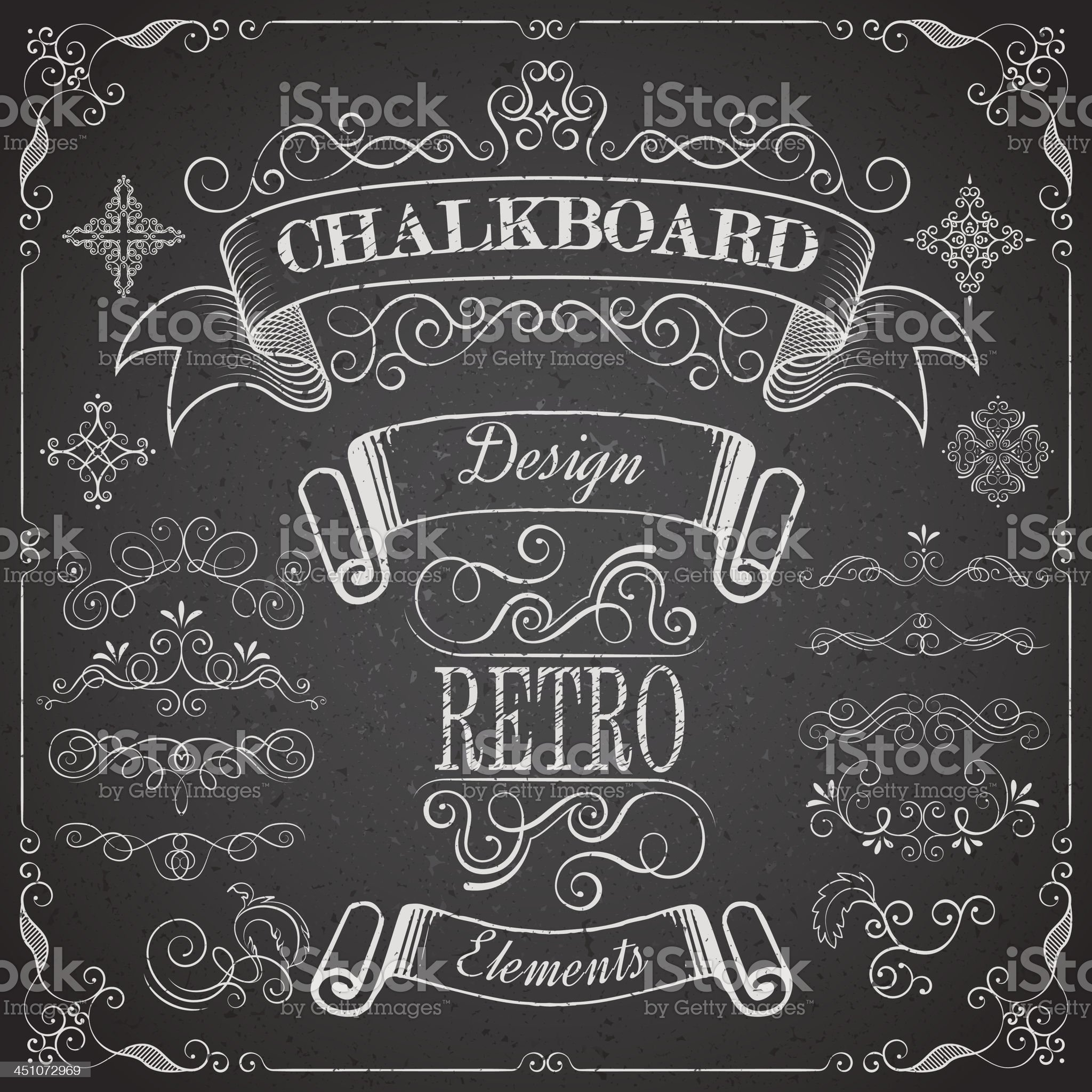 Retro scroll dividers and icons on chalkboard royalty-free stock vector art