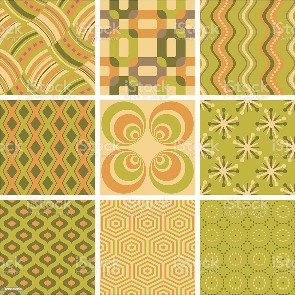 retro seamless backgrounds green-orange-beige royalty-free stock vector art