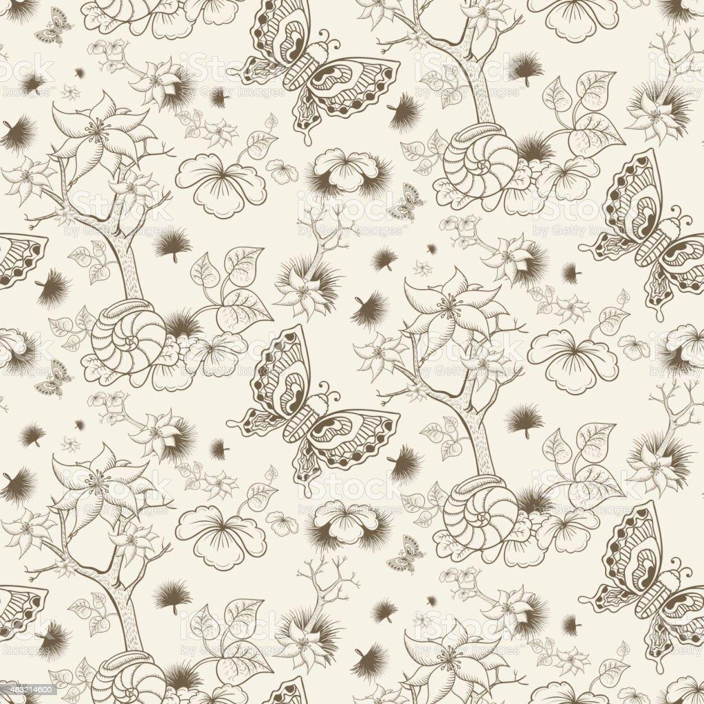 retro seamless floral pattern vector art illustration