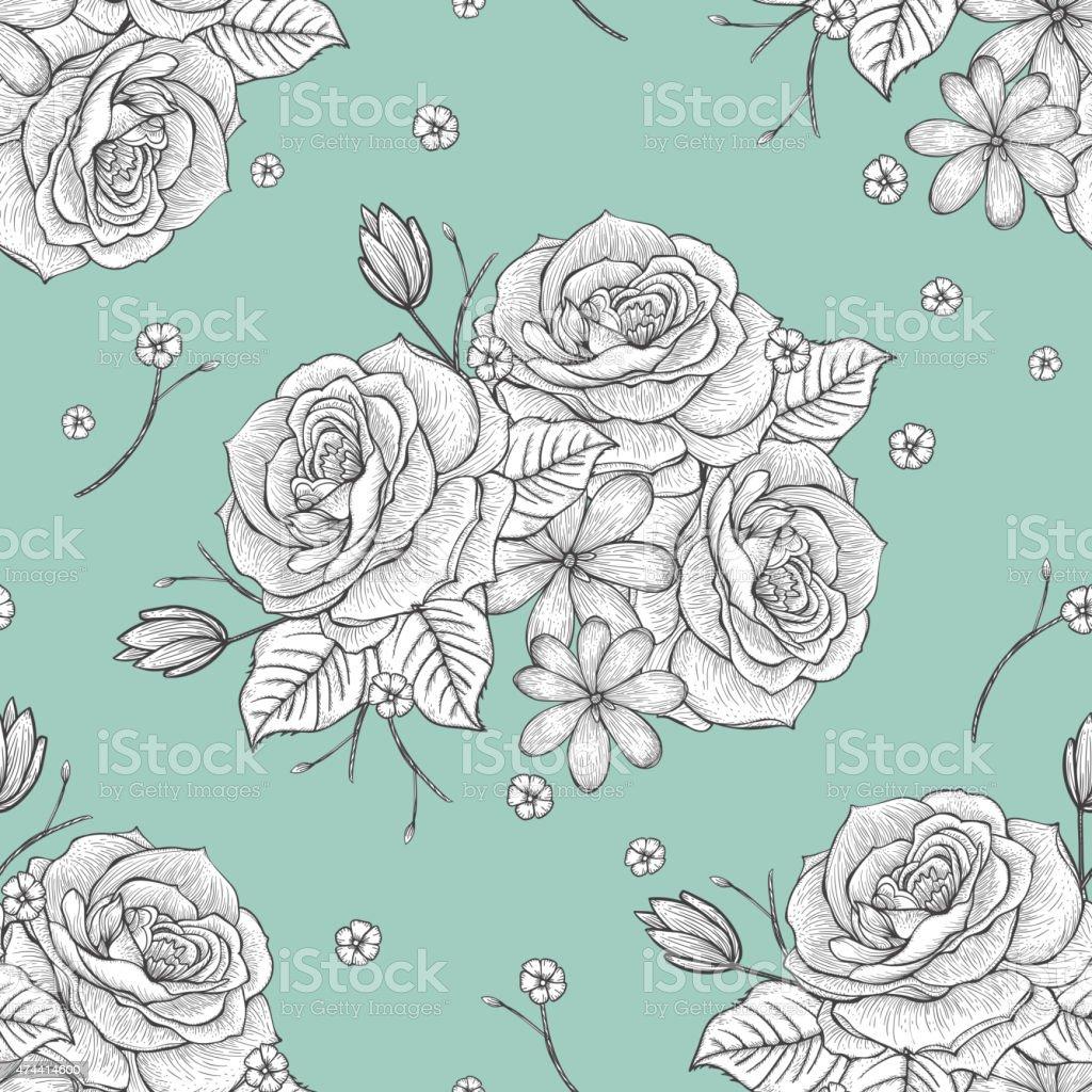 retro seamless hand drawn rose pattern vector art illustration