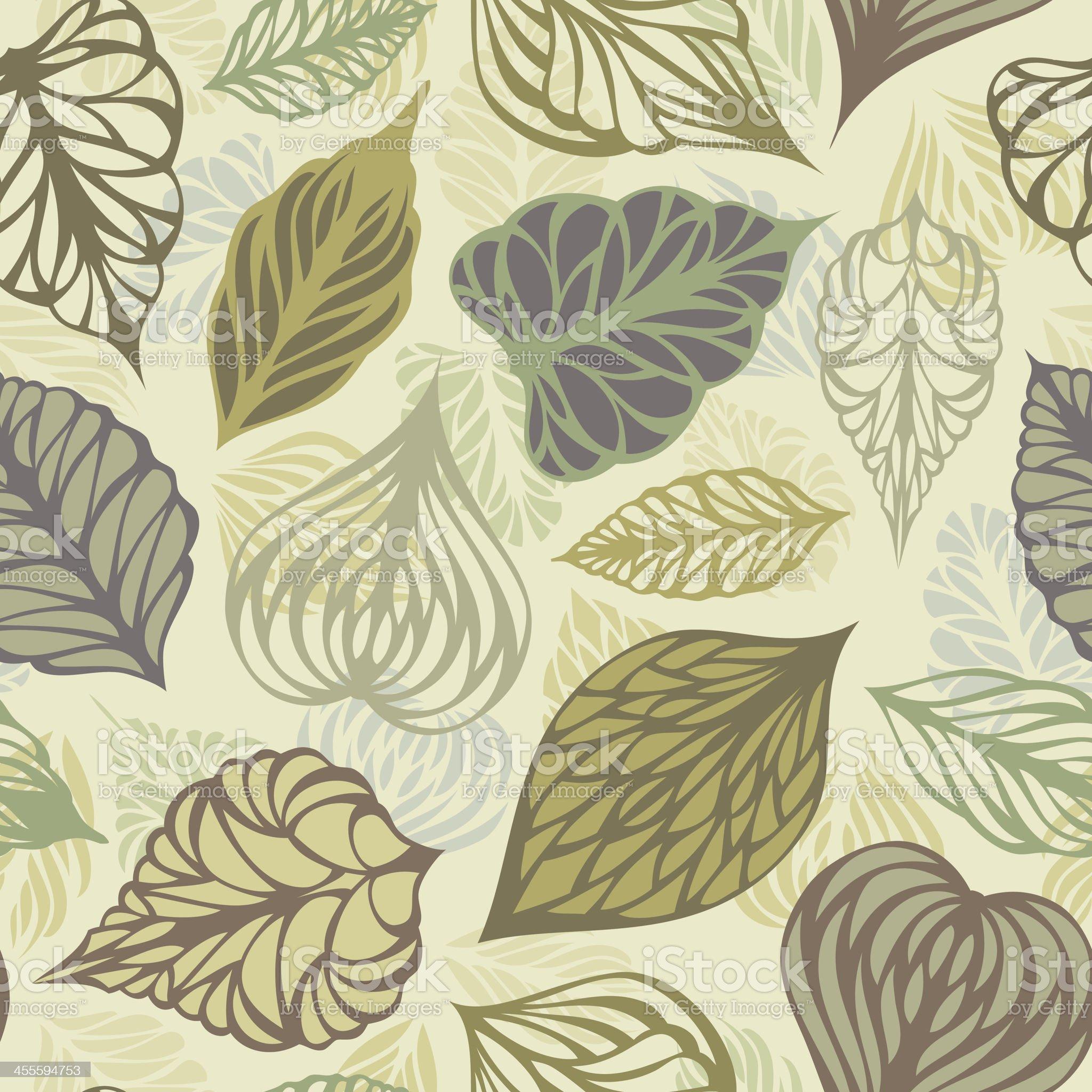 Retro seamless leaves pattern royalty-free stock vector art