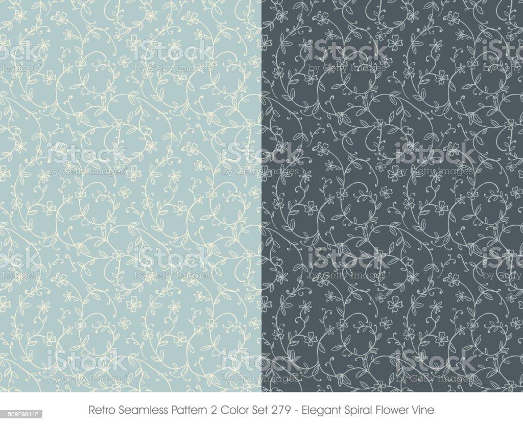 Retro Seamless Pattern 2 Color Set_279 Elegant Spiral Flower Vine vector art illustration