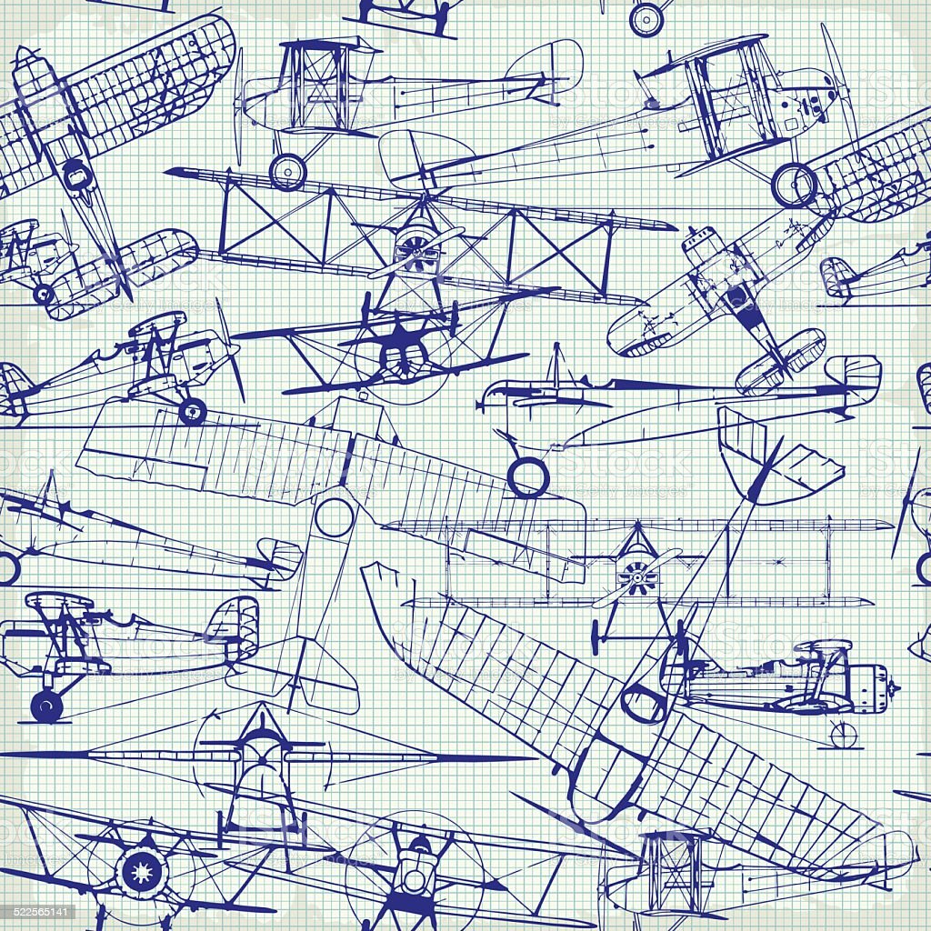 Retro seamless  pattern , old airplanes drawing vector art illustration