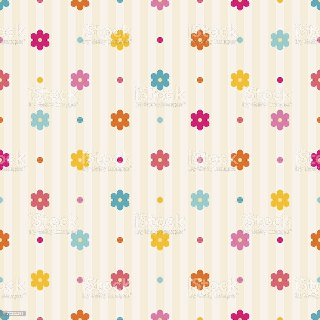 Retro seamless pattern with flowers royalty-free stock vector art