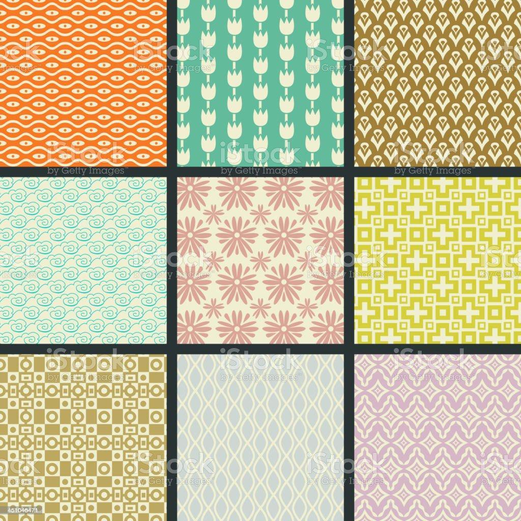 Retro seamless patterns royalty-free stock vector art