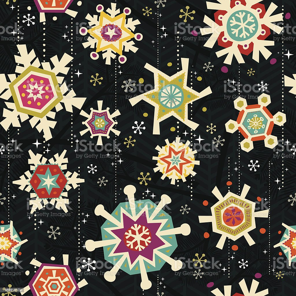 Retro Seamless Snowflake Pattern royalty-free stock vector art