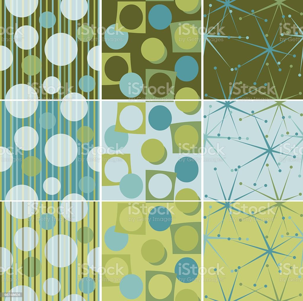 Retro seamless tiles in aqua green and brown vector art illustration