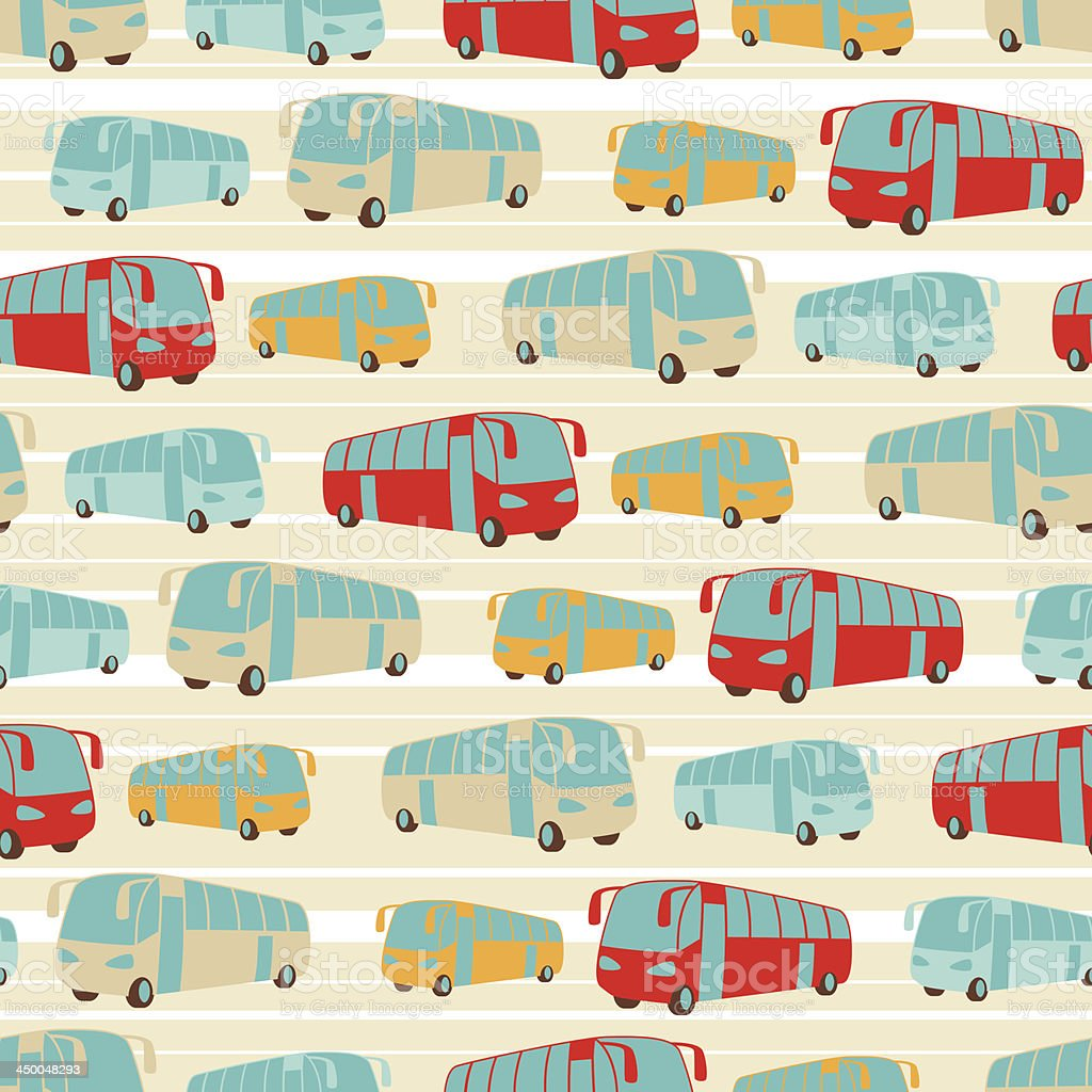 Retro seamless travel pattern of buses. royalty-free stock vector art