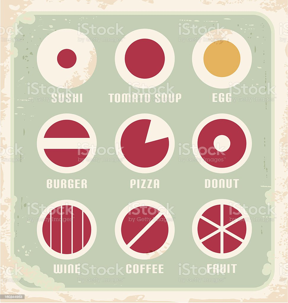Retro set of food pictograms, icons and symbols royalty-free stock vector art