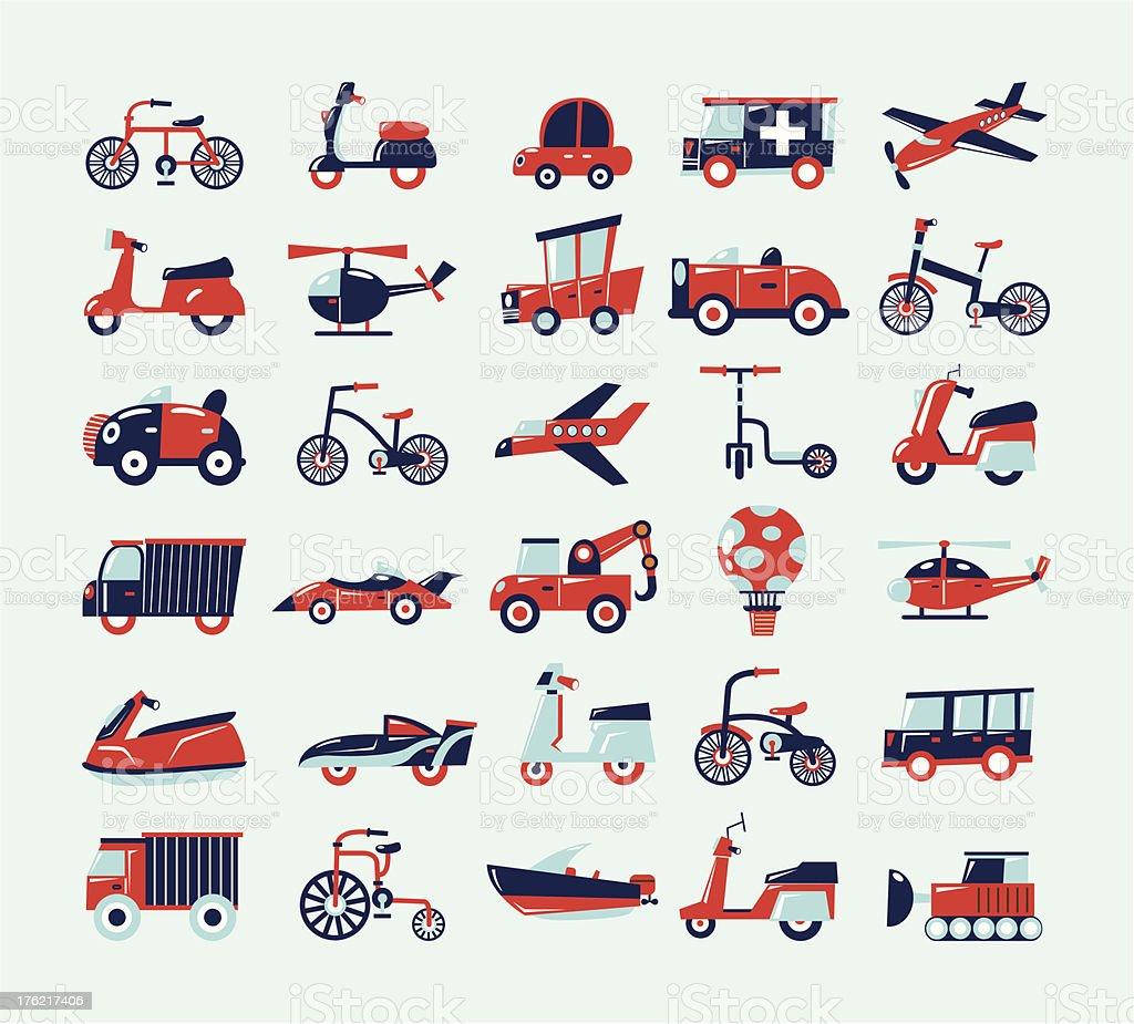 Retro set of transportation icons royalty-free stock vector art