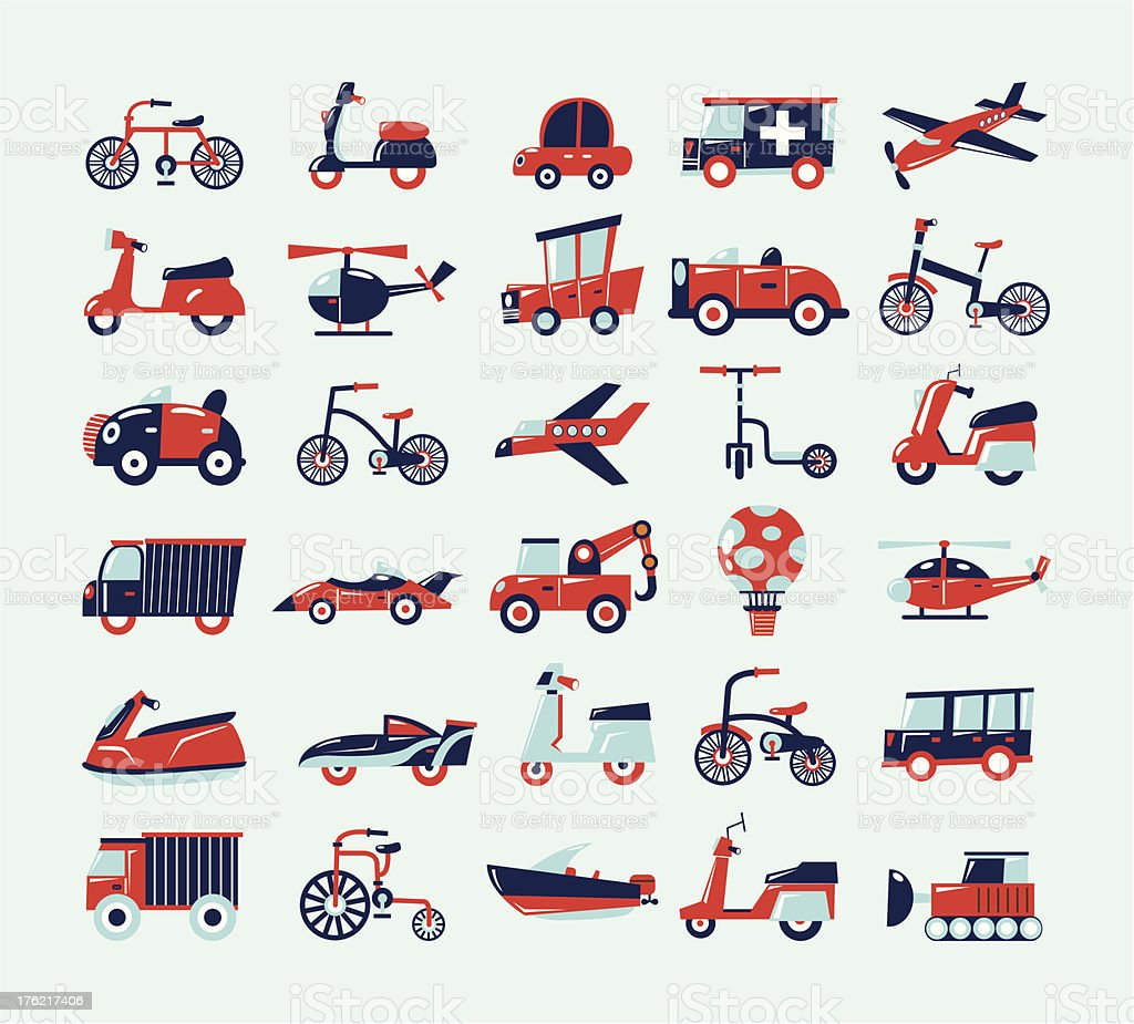 Retro set of transportation icons vector art illustration