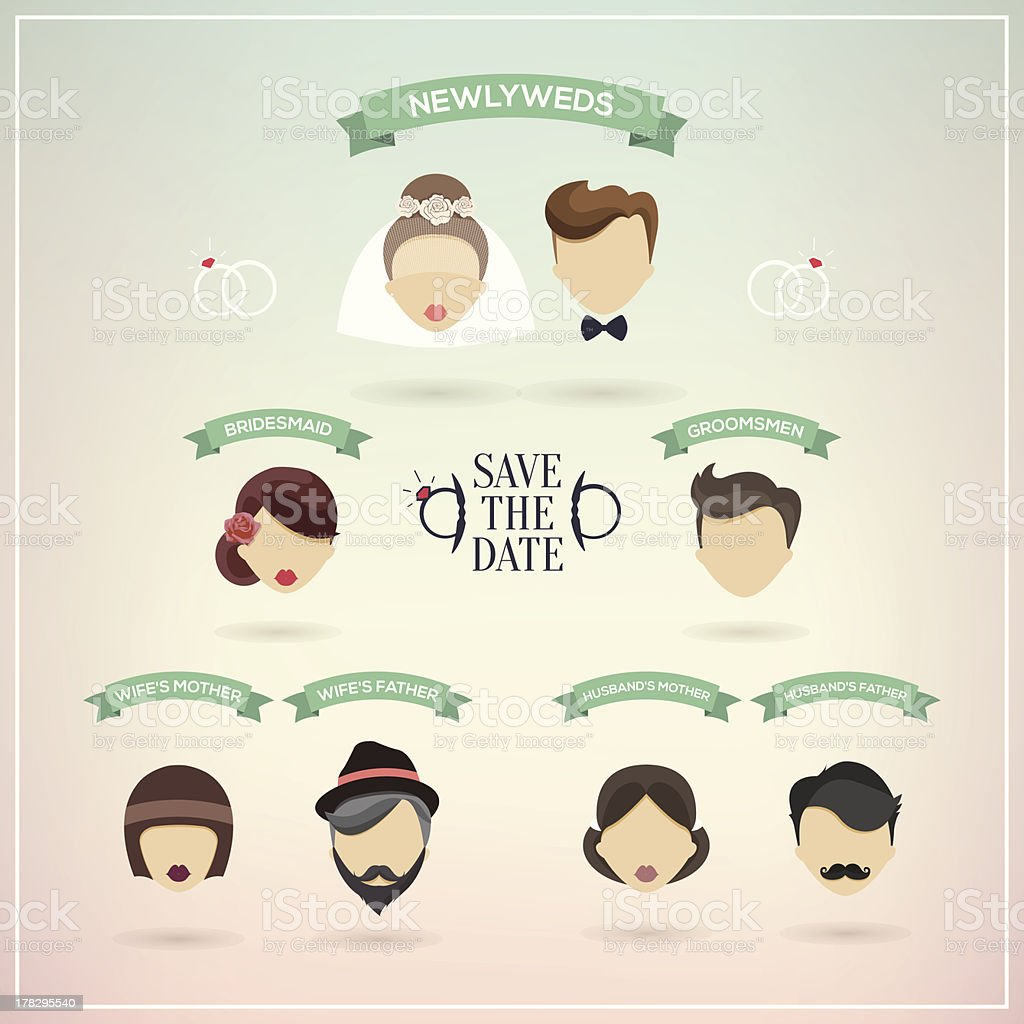 Retro set of wedding icons royalty-free stock vector art