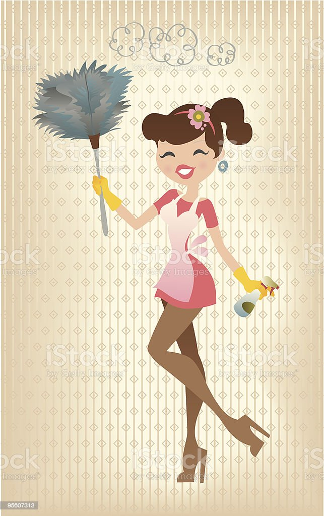 Retro Sexy Housewife royalty-free stock vector art