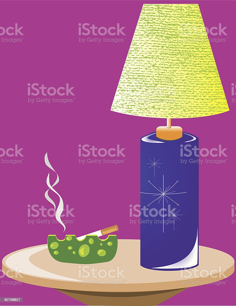 Retro Side Table & Lamp royalty-free stock vector art