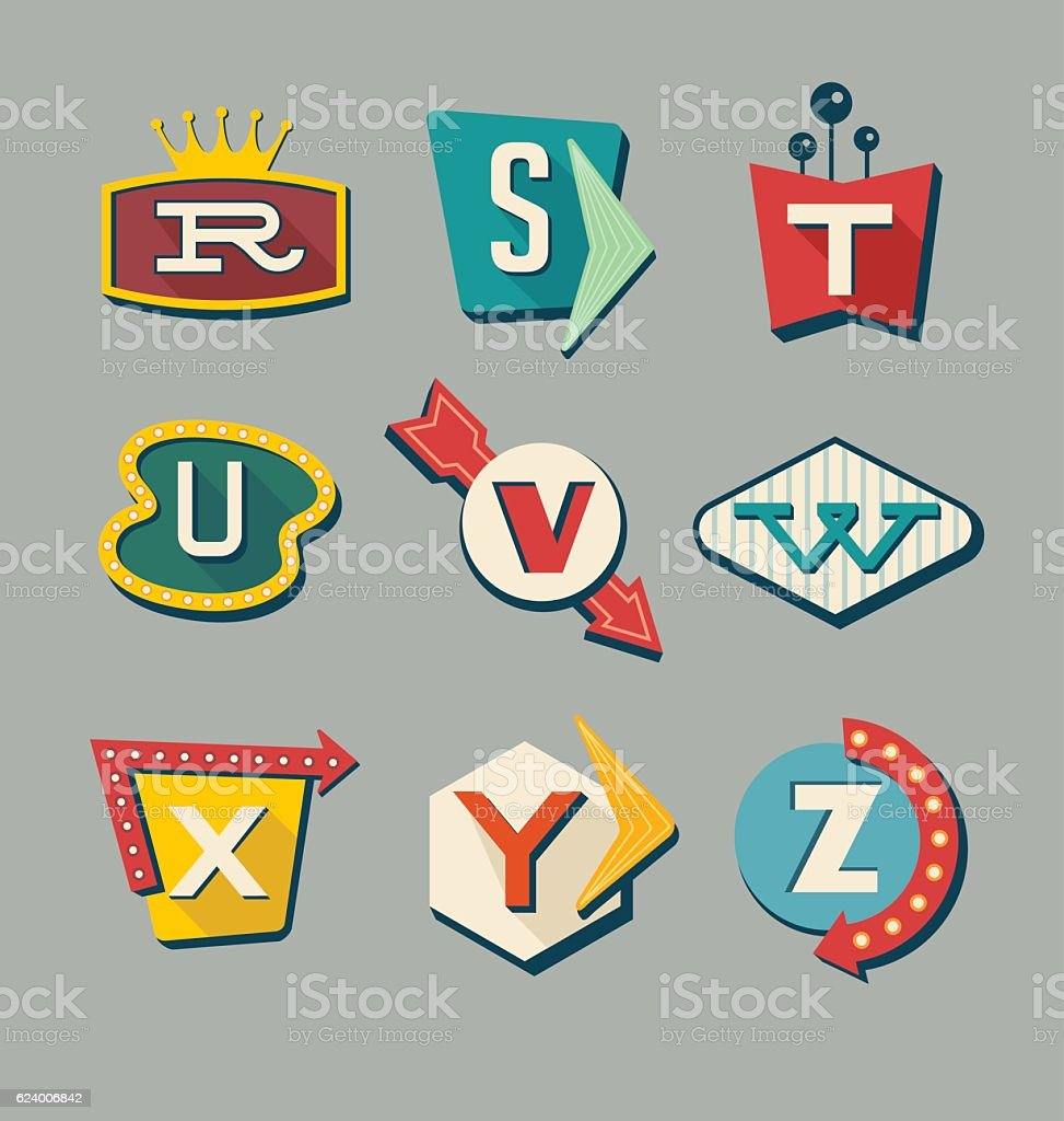 Retro signs alphabet. Letters on vintage style signs. vector art illustration