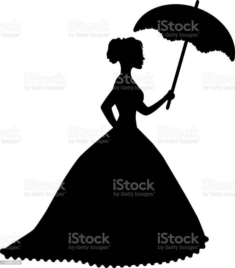 retro silhouette of a woman with umbrella royalty-free stock vector art