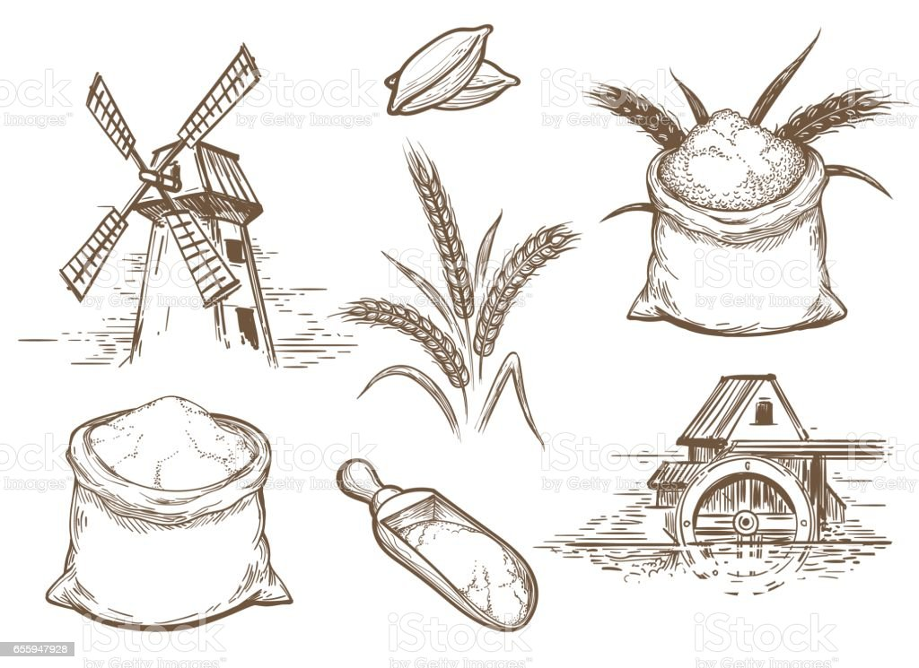 Retro sketch bakery elements vector art illustration