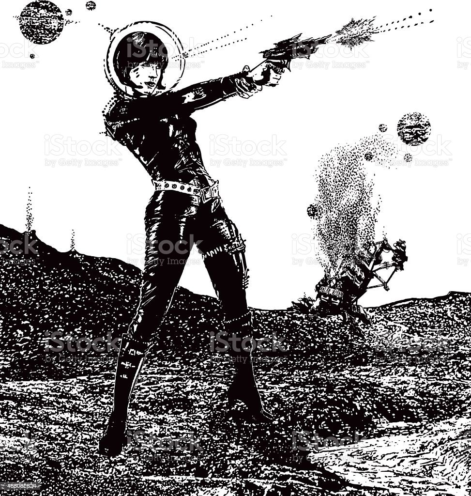 Retro Space Woman In Combat In Outer Space vector art illustration